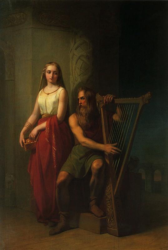 Bragi ngồi chơi đàn harp, với Iðunn đứng bên cạnh (1846) – tranh của Nils Blommér