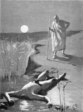 Óðinn tìm thấy thi thể mất đầu của Mímir - tranh của Georg Pauli
