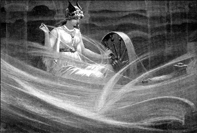 Frigg dệt mây (1909) – tranh của John Charles Dollman