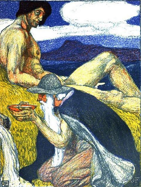 Óðinn uống nước từ giếng trí tuệ (1903) - tranh của Robert Engels