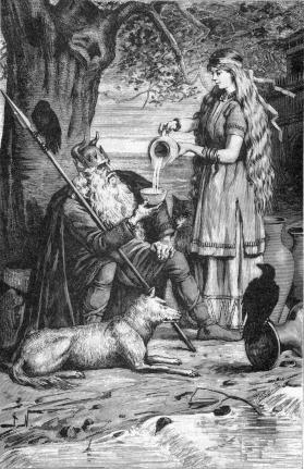 Saga rót rượu cho Óðinn (1893) - tranh của Jenny Nyström