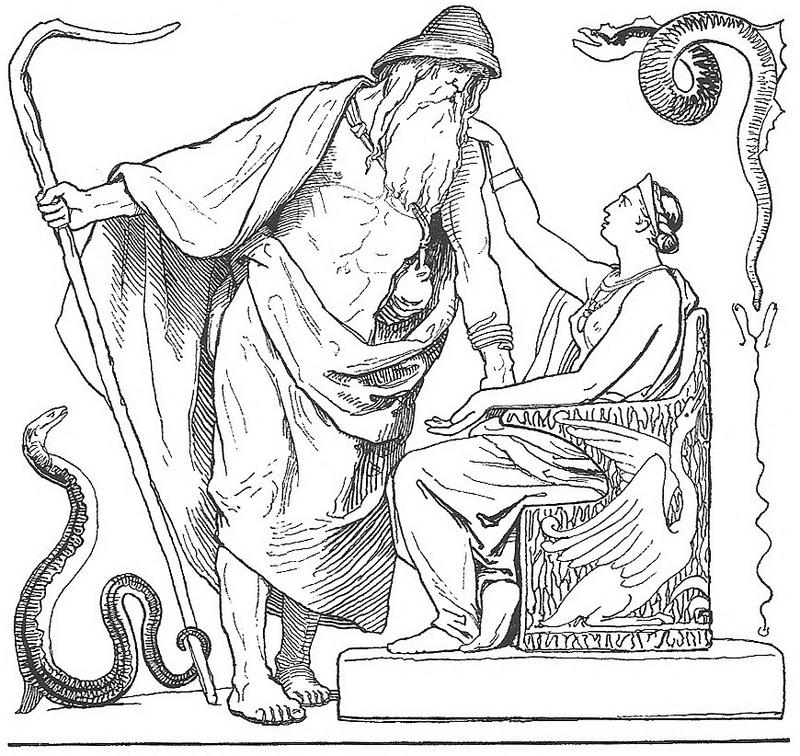 Óðinn và Frigg (trong tập Vafþrúðnismál, 1895) – tranh của Lorenz Frølich