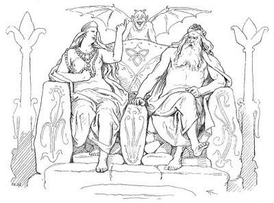 Frigg và Óðinn (theo Grímnismál, 1895) – tranh của Lorenz Frølich