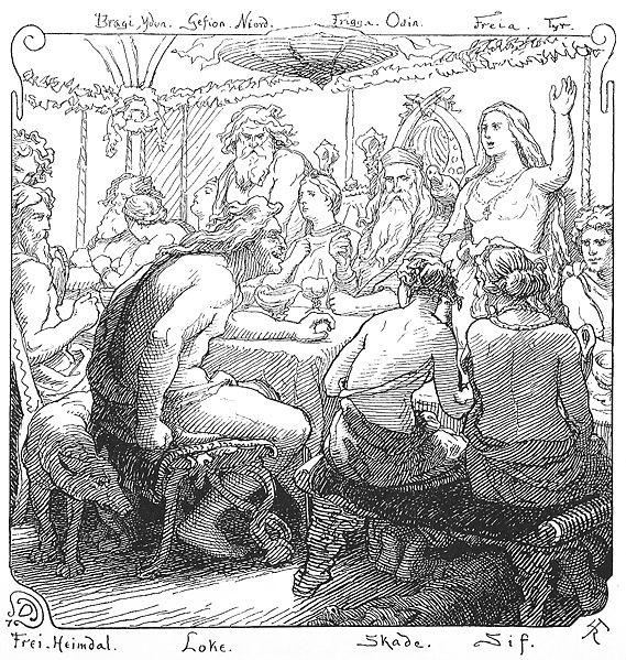 Frigg trong bữa tiệc của Ægir (1895) – tranh của Lorenz Frølich