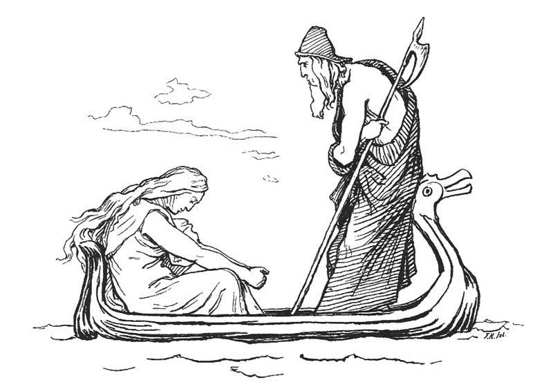 Frigg và Óðinn trên sông Ífingr (1895) – tranh của Lorenz Frølich