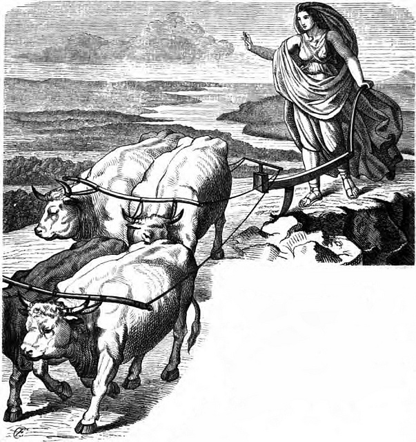Gefjun đào đảo Zealand (1882) - tranh của Karl Ehrenberg