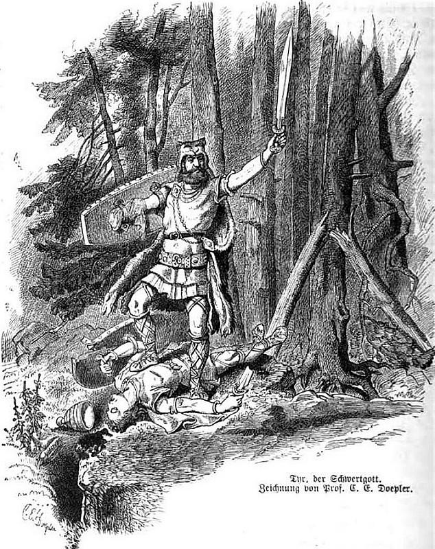 Týr, vị thần đấu kiếm (1882) - tranh của Carl Emil Doepler