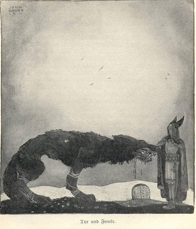 Týr và Fenrir (1911) - tranh của John Bauer