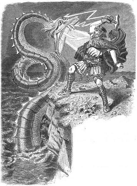 Þórr đấu với con rắn ở Miðgarðr (1882) - tranh của Carl Emil Doepler