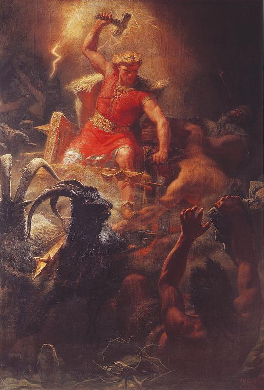 Þórr đấu với lũ khổng lồ (1872) - tranh của Mårten Eskil Winge