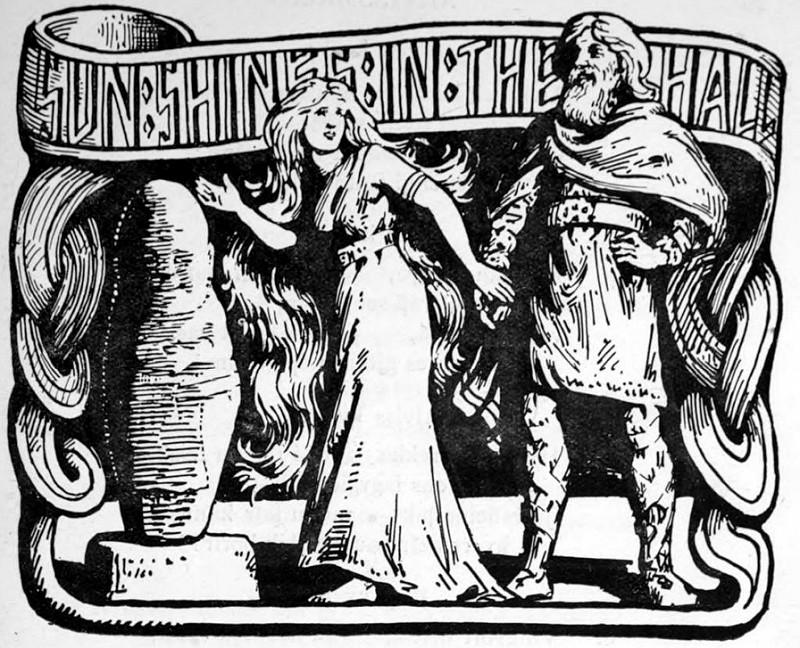 Þórr nắm tay Þrúðr, khi ánh nắng tràn vào lâu đài biến Alvíss thành đá (1908) - tranh của W.G. Collingwood
