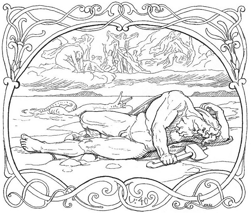 Cái chết của Þórr và Jörmungandr (theo Völuspá, 1895) - tranh của Lorenz Frølich