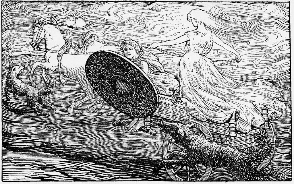 Cỗ xe mặt trời (1908) – tranh của W.G. Collingwood