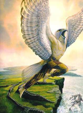 Loki trong lốt chim ưng – tranh của Tudor Humphries