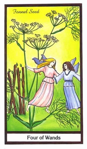 Ý nghĩa lá 4 of Wands trong bộ bài Herbal Tarot