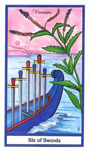 Ý nghĩa lá 6 of Swords trong bộ bài Herbal Tarot