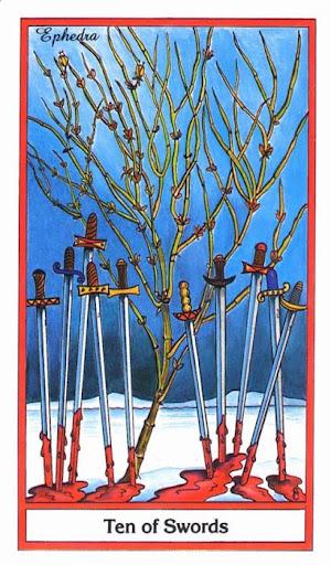 Ý nghĩa lá 10 of Swords trong bộ bài Herbal Tarot