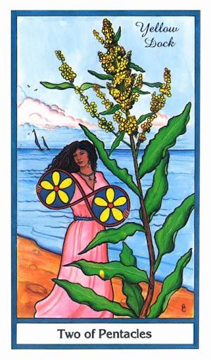 Ý nghĩa lá 2 of Pentacles trong bộ bài Herbal Tarot