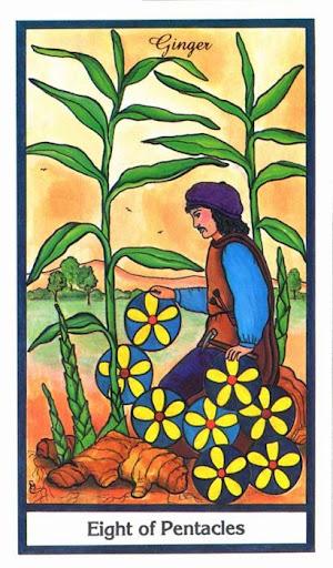 Ý nghĩa lá 8 of Pentacles trong bộ bài Herbal Tarot