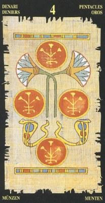Ý nghĩa lá 4 of Pentacles trong bộ bài Egyptian Tarot