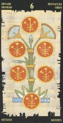 Ý nghĩa lá 6 of Pentacles trong bộ bài Egyptian Tarot