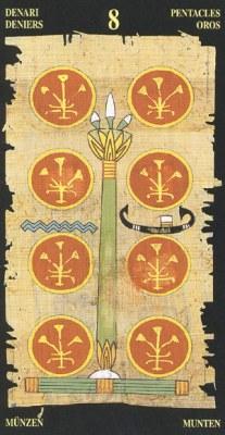 Ý nghĩa lá 8 of Pentacles trong bộ bài Egyptian Tarot