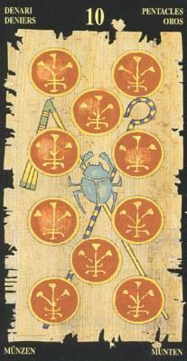 Ý nghĩa lá 10 of Pentacles trong bộ bài Egyptian Tarot