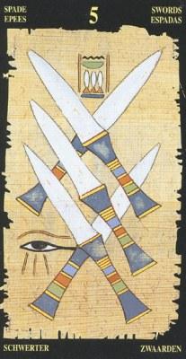 Ý nghĩa lá 5 of Swords trong bộ bài Egyptian Tarot