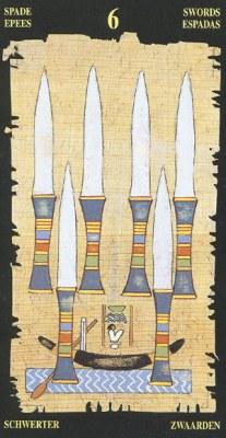 Ý nghĩa lá 6 of Swords trong bộ bài Egyptian Tarot