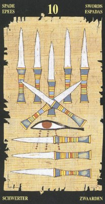 Ý nghĩa lá 10 of Swords trong bộ bài Egyptian Tarot