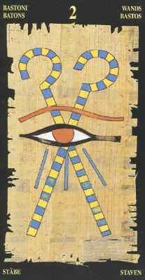 Ý nghĩa lá 2 of Wands trong bộ bài Egyptian Tarot
