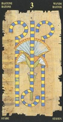 Ý nghĩa lá 3 of Wands trong bộ bài Egyptian Tarot