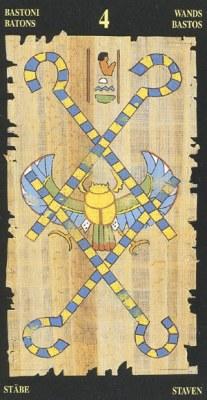 Ý nghĩa lá 4 of Wands trong bộ bài Egyptian Tarot