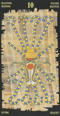 Ý nghĩa lá 10 of Wands trong bộ bài Egyptian Tarot