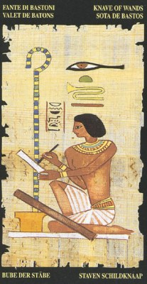 Ý nghĩa lá Knave of Wands trong bộ bài Egyptian Tarot