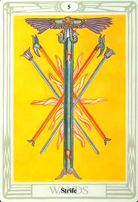 Lá Five of Wands – Aleister Crowley Thoth Tarot