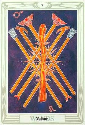Lá Seven of Wands – Aleister Crowley Thoth Tarot