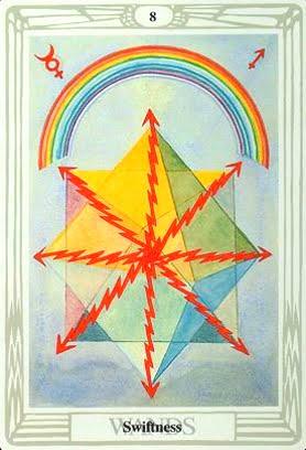 Ý nghĩa lá Eight of Wands trong bộ bài Aleister Crowley Thoth Tarot