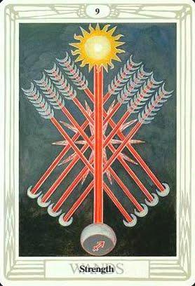 Ý nghĩa lá Nine of Wands trong bộ bài Aleister Crowley Thoth Tarot