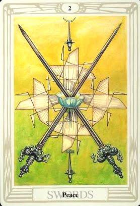 Ý nghĩa lá Two of Swords trong bộ bài Aleister Crowley Thoth Tarot