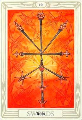 Ý nghĩa lá 10 of Swords trong bộ bài Aleister Crowley Thoth Tarot