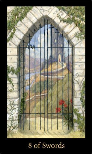 ý nghĩa lá 8 of Swords trong Bộ Bài Mary-el Tarot