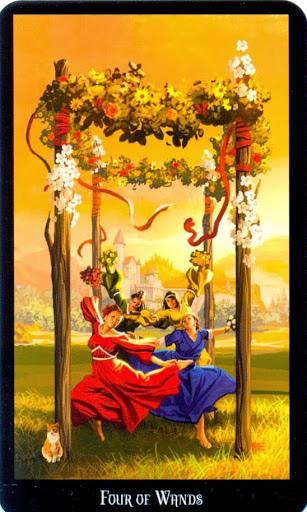 Ý nghĩa lá Four of Wands trong bộ bài Witches Tarot