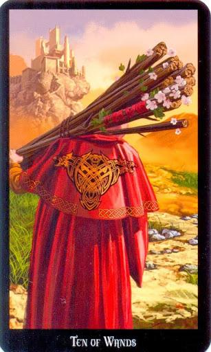 Ý nghĩa lá Ten of Wands trong bộ bài Witches Tarot