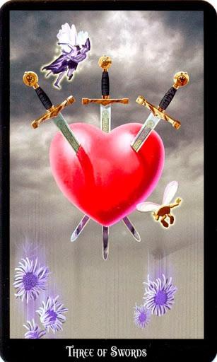 Ý nghĩa lá Three of Swords trong bộ bài Witches Tarot