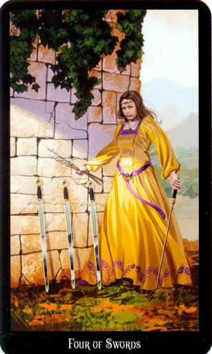 Ý nghĩa lá Four of Swords trong bộ bài Witches Tarot