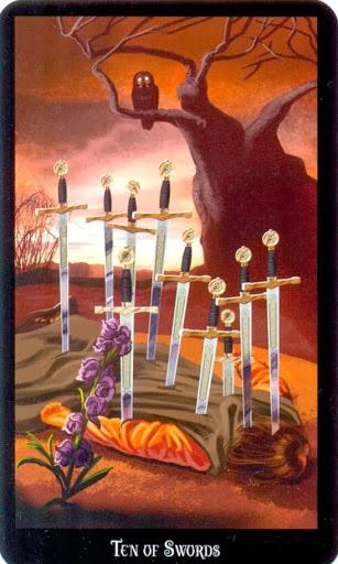 Ý nghĩa lá Ten of Swords trong bộ bài Witches Tarot