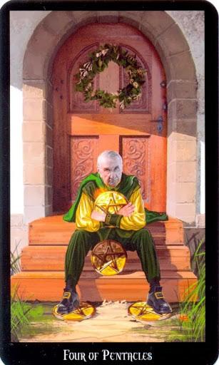 Ý nghĩa lá Four of Pentacles trong bộ bài Witches Tarot