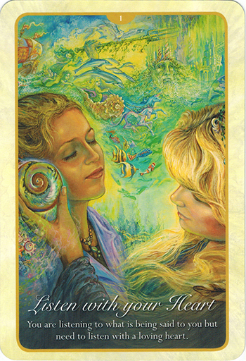 Ý nghĩa lá 1. Listen With Your Heart trong bộ bài Whispers of Love Oracle Cards