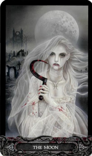 Lá Bài XVIII. The Moon - Tarot of Vampyres 1
